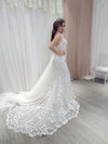 Australiana white 3D lace mermaid dress with tulle over skirt