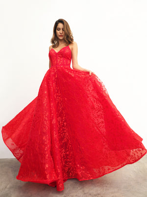 Burn your heart red organza lace computer tulle princess dress with lace up back