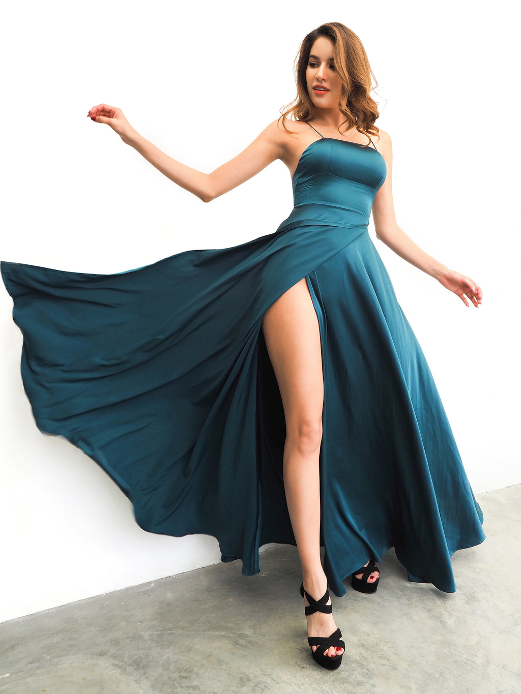Teal straight neck full dress with slit and lace up back