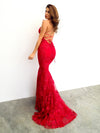 Maroon red lace criss-cross back mermaid dress