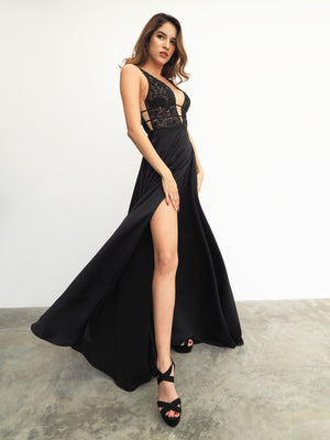 Black sequin lace top with V neck and hidden slit skirt