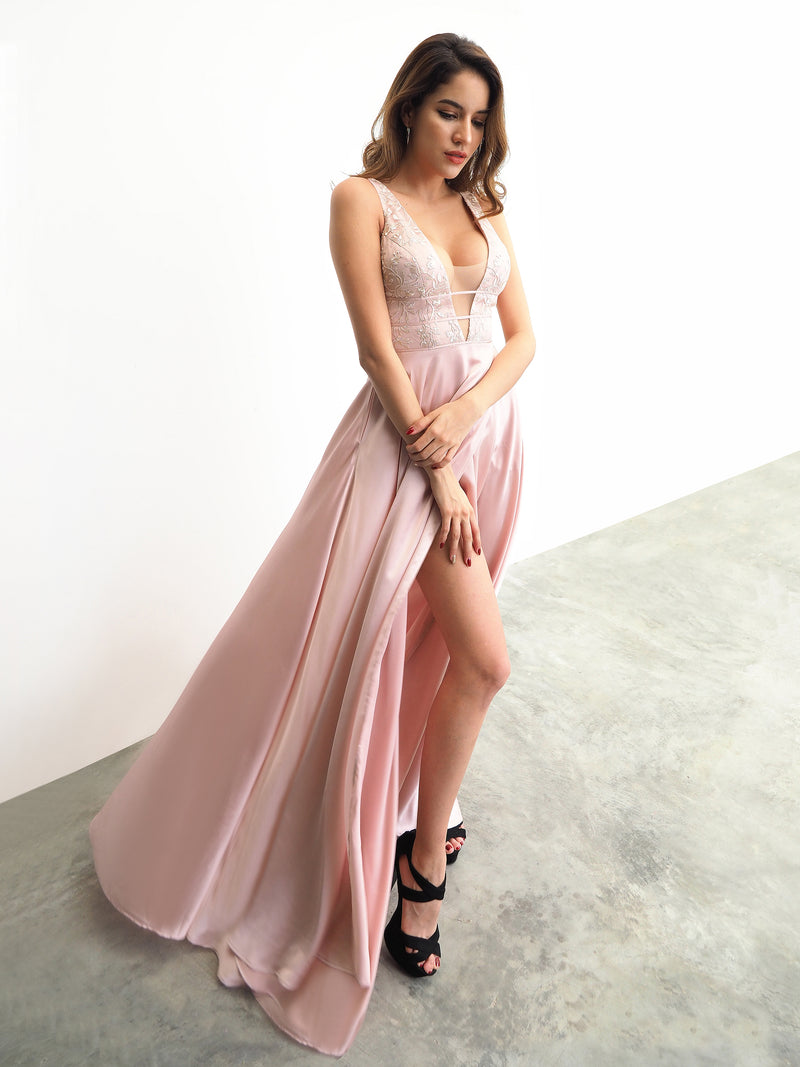 Miriam Pink Fondue satin dress with deep V neck