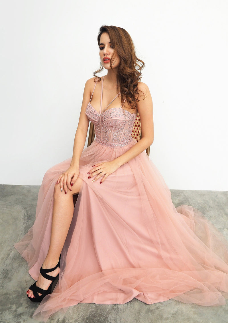 Romiji muted pink tulle dress with slit for hire