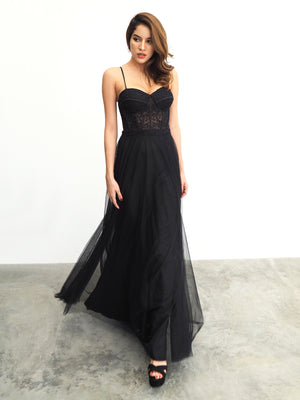 Black lace corset bodice column dress with tulle overlay