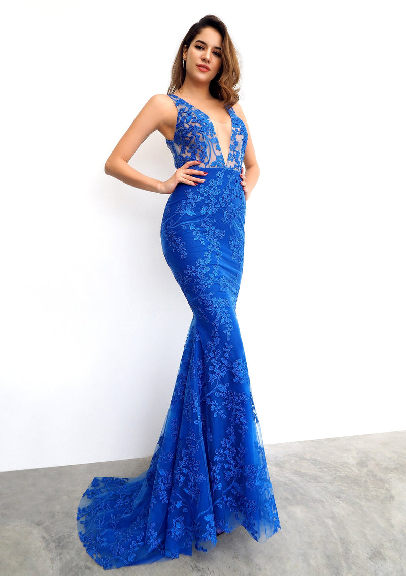 Royal Blue lace deep V neck mermaid dress