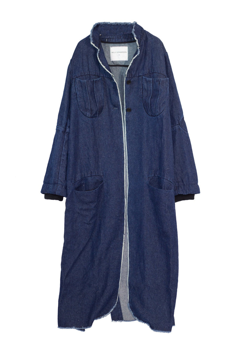 NELLY JOHANSSON HEMP BLEND COAT INDIGO - NELLY JOHANSSON