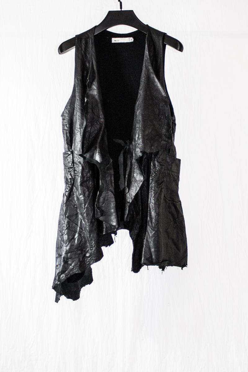 NELLY JOHANSSON CRINKLY LEATHER VEST - NELLY JOHANSSON