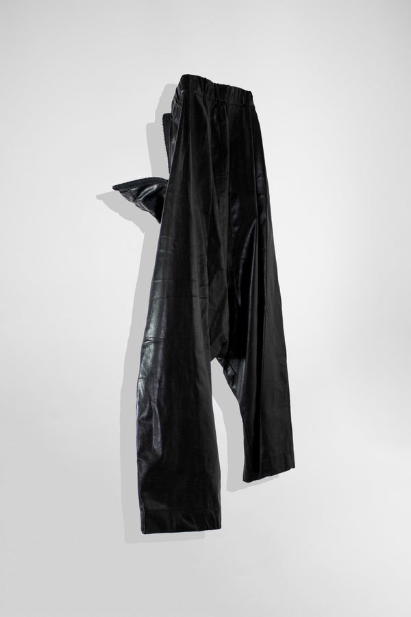 NELLY JOHANSSON DROP CROUCH LEATHER TROUSERS