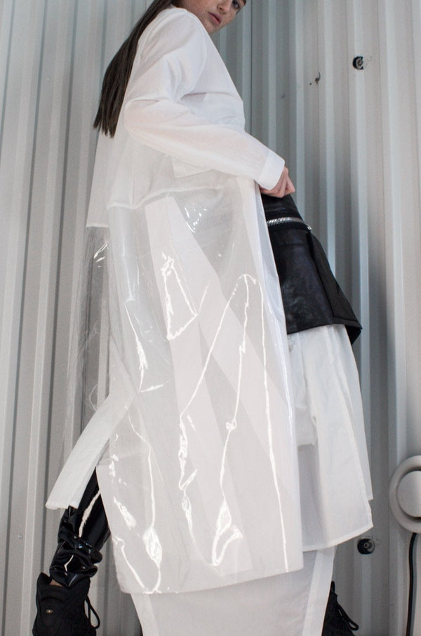 NELLY JOHANSSON PLASTIC FUSED COAT WHITE