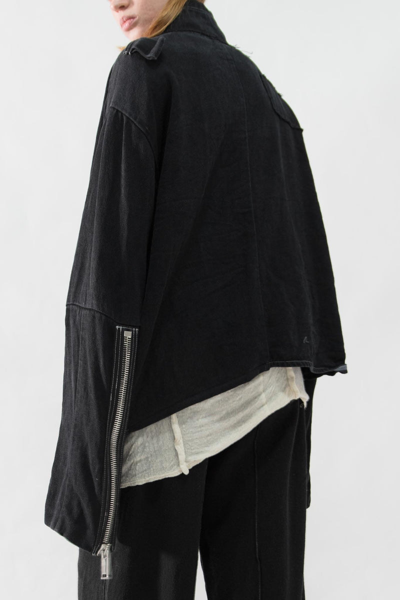 Asymmetrical Hemp Denim Jacket - NELLY JOHANSSON