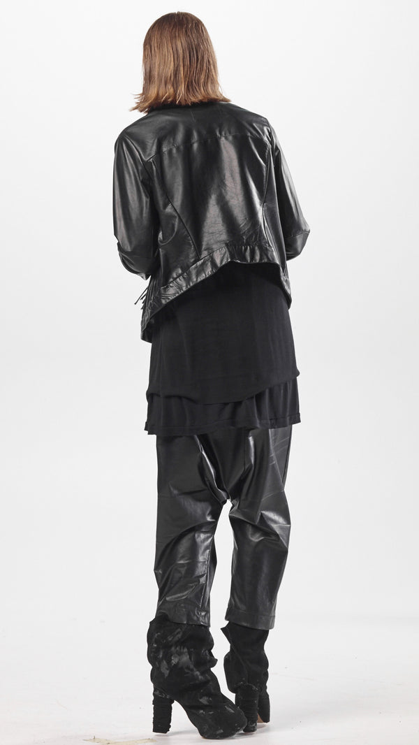 NELLY JOHANSSON DROP CROUCH LEATHER TROUSERS - NELLY JOHANSSON
