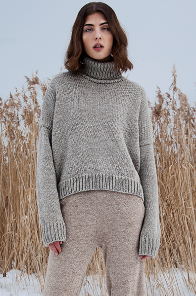 Rae Chunky Marled Turtle Neck Sweater - PJOKI