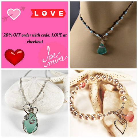 sea glass jewelry on valentines day promo