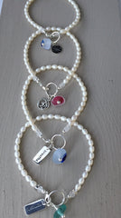 Sea Glass and Pearl Bracelets With Yoga Inspired Charms