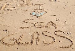 sea glass in sand