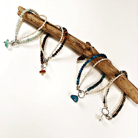sea glass accents on pearl and stone beaded bracelets