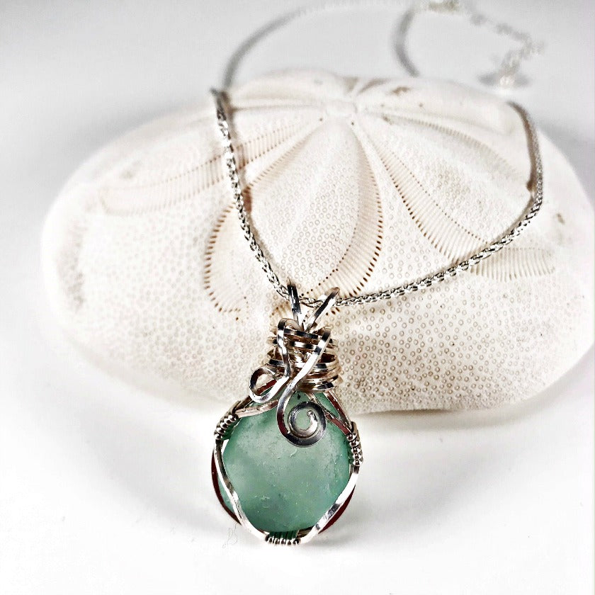 Bluish-Gray Wire Wrapped Sea Glass Pendant on Sterling Silver Chain ...