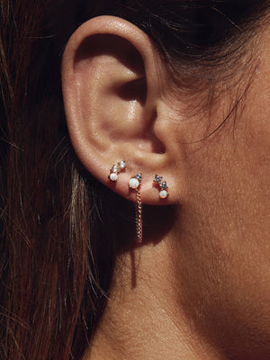 MOONSTONE CHAIN STUD EARRINGS