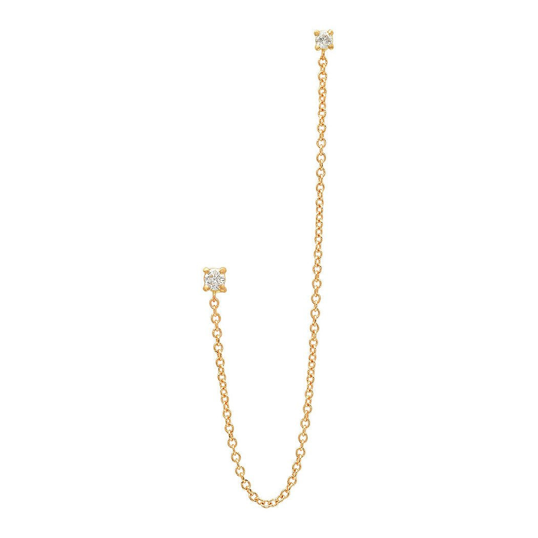 DIAMOND LONG CHAIN LINKED EARRING