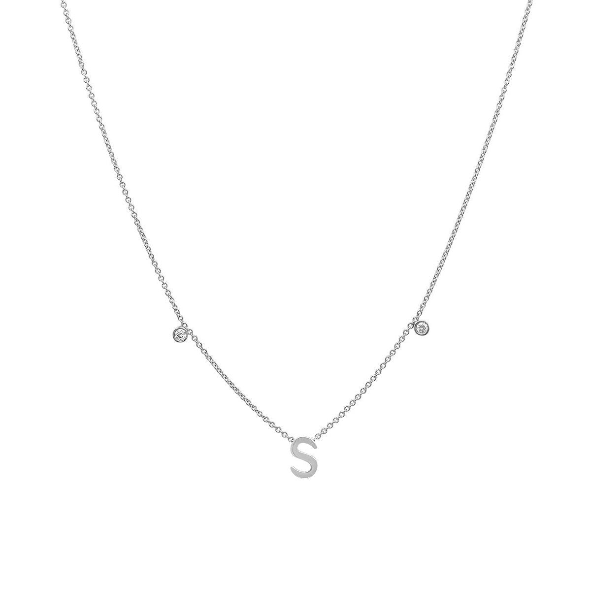 INITIAL & DIAMOND NECKLACE - 14K WHITE