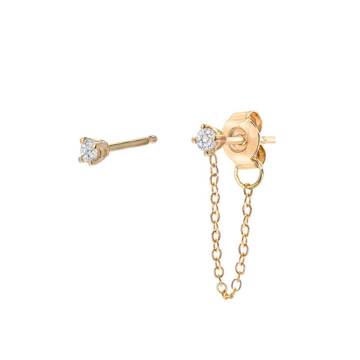 MINI DIAMOND & MINI DIAMOND CHAINED EARRING SET