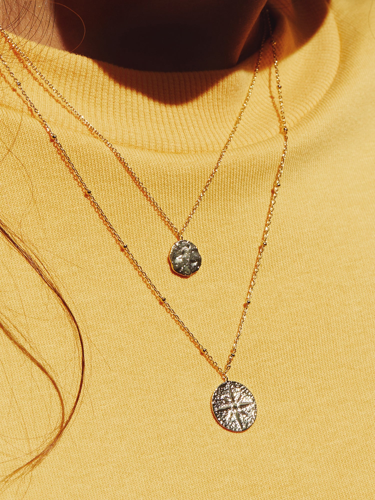 MINI ETCHED COIN NECKLACE & ETCHED COMPASS COIN NECKLACE