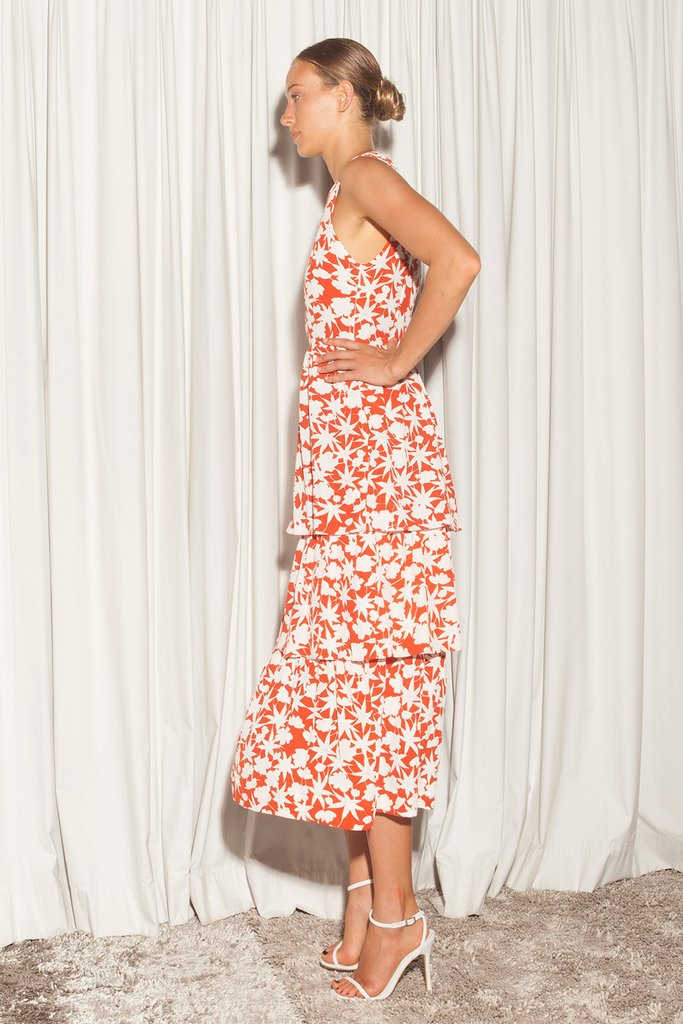 CATO DRESS - ORANGE FLORA