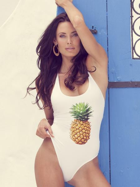 PINEAPPLE LOVERS WHITE CRISS-CROSS ONE PIECE