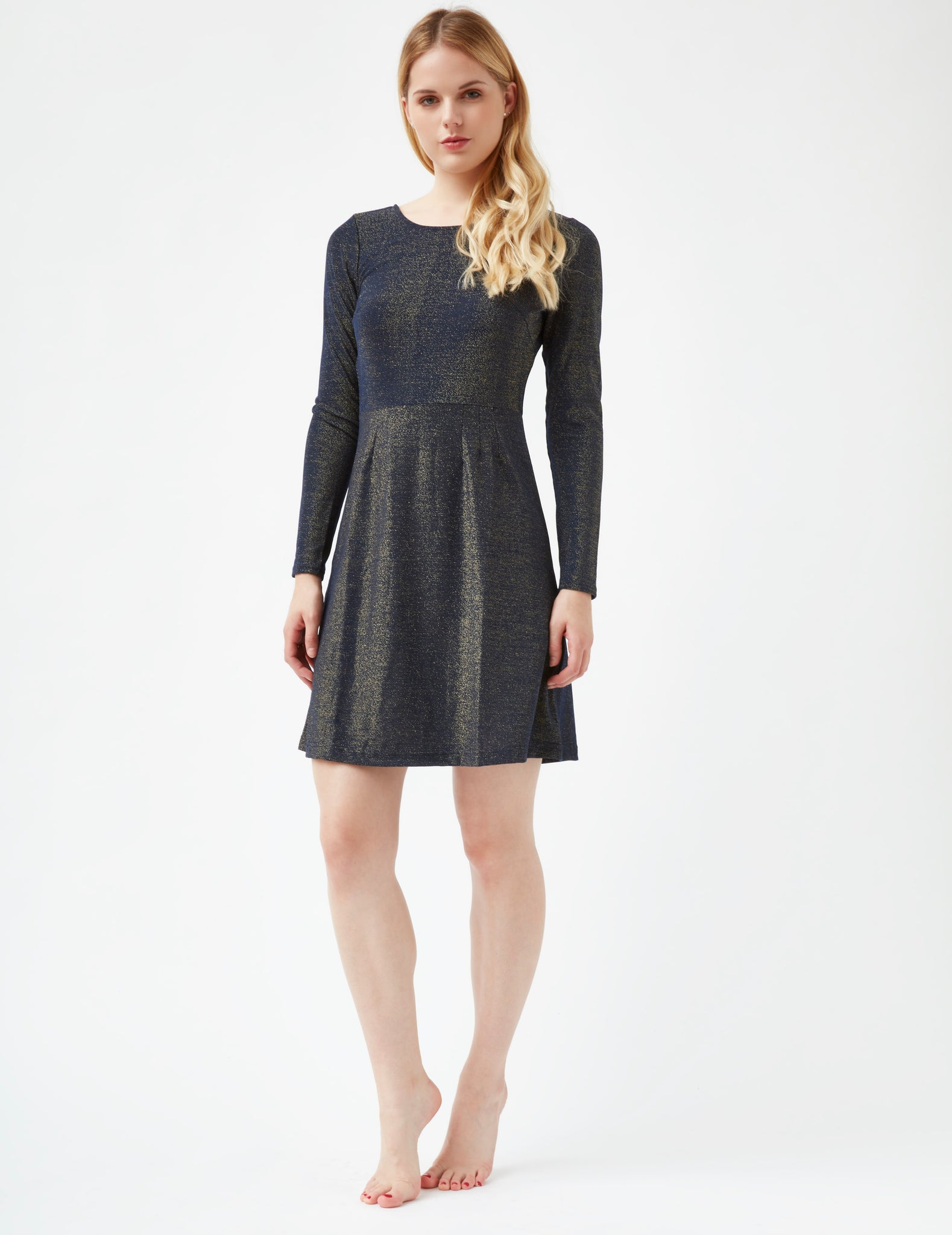 BLAST FROM THE PAST- DOUBLE TAKE GLITTER LUREX SKATER DRESS