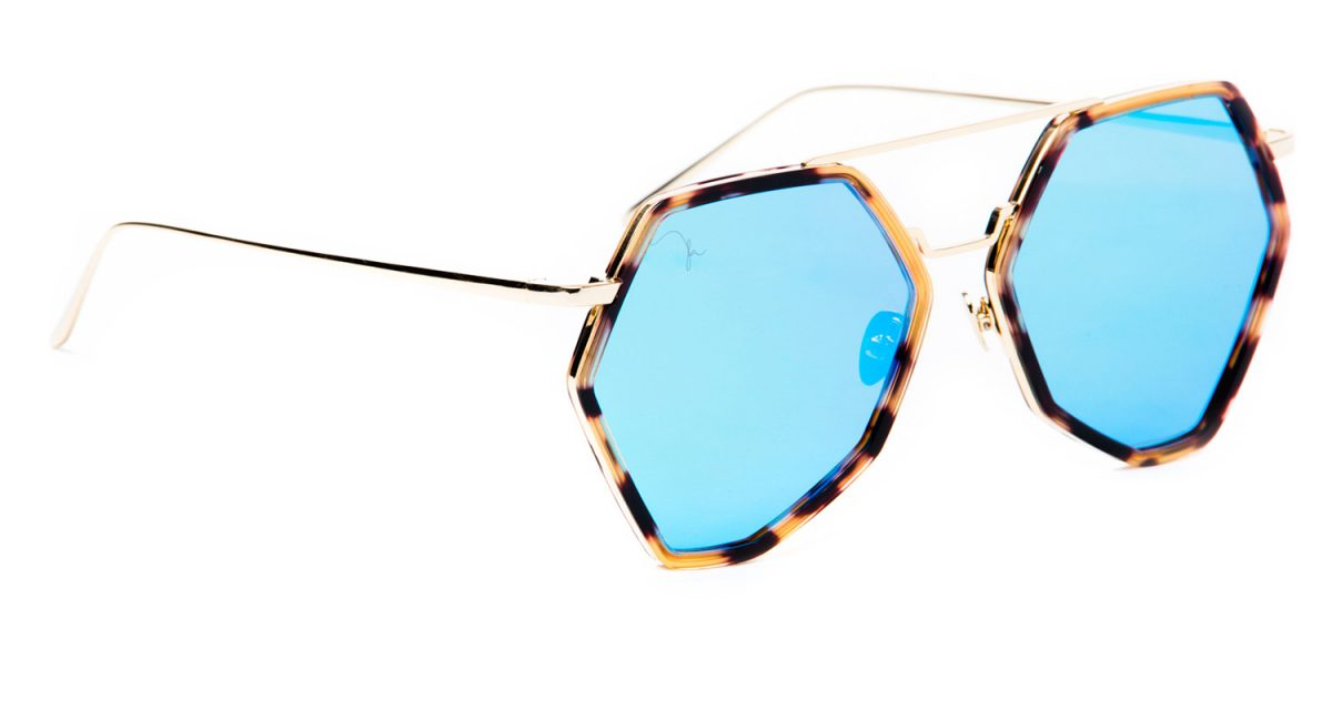 NITA GOLD WITH TORTOISE ACETATE AND BLUE MIRROR LENS