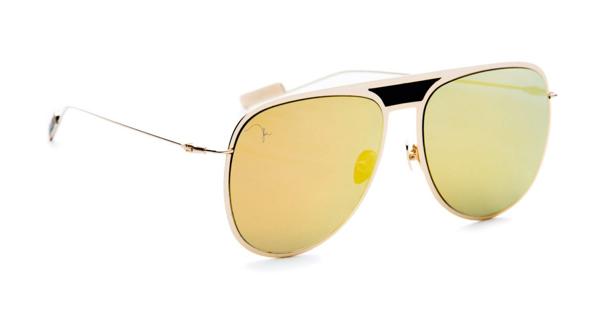CRYS GOLD FLAT METAL WITH GOLD MIRROR LENS & LEATHER ACCENTS