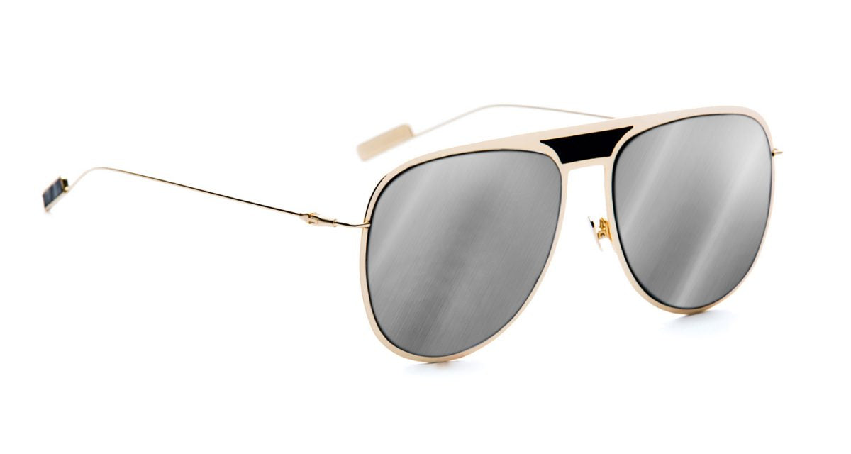 CRYS GOLD FLAT METAL WITH SILVER MIRROR LENS & LEATHER ACCENTS