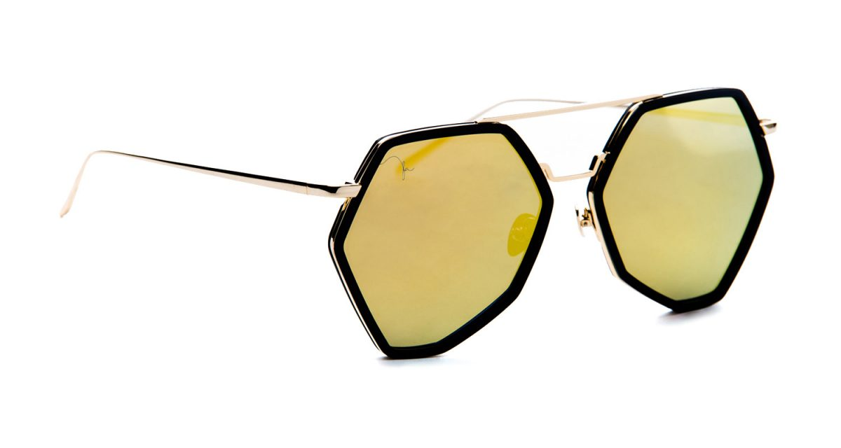 NITA GOLD WITH BLACK ACETATE AND GOLD MIRROR LENS