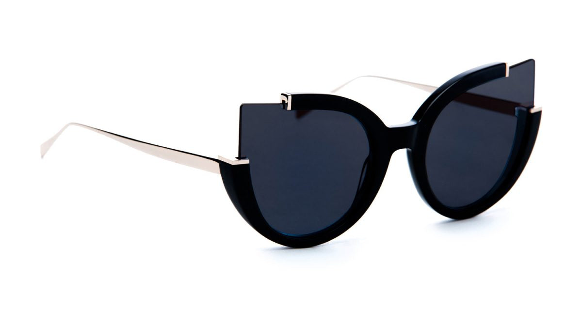 GAYLE BLACK ACETATE WITH GOLD ACCENTS AND SOLID GREY TINTED LENS