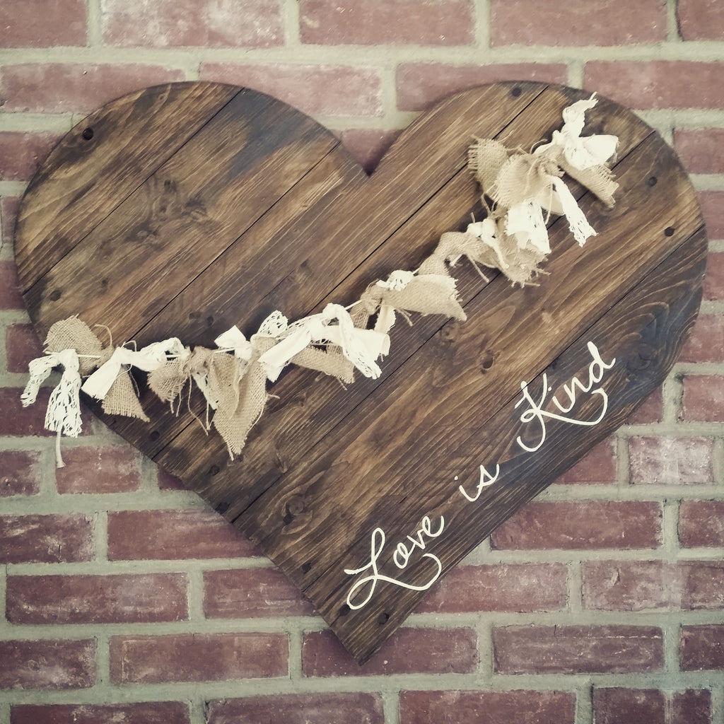 "30"" Reclaimed Wood Heart with Lace & Burlap"
