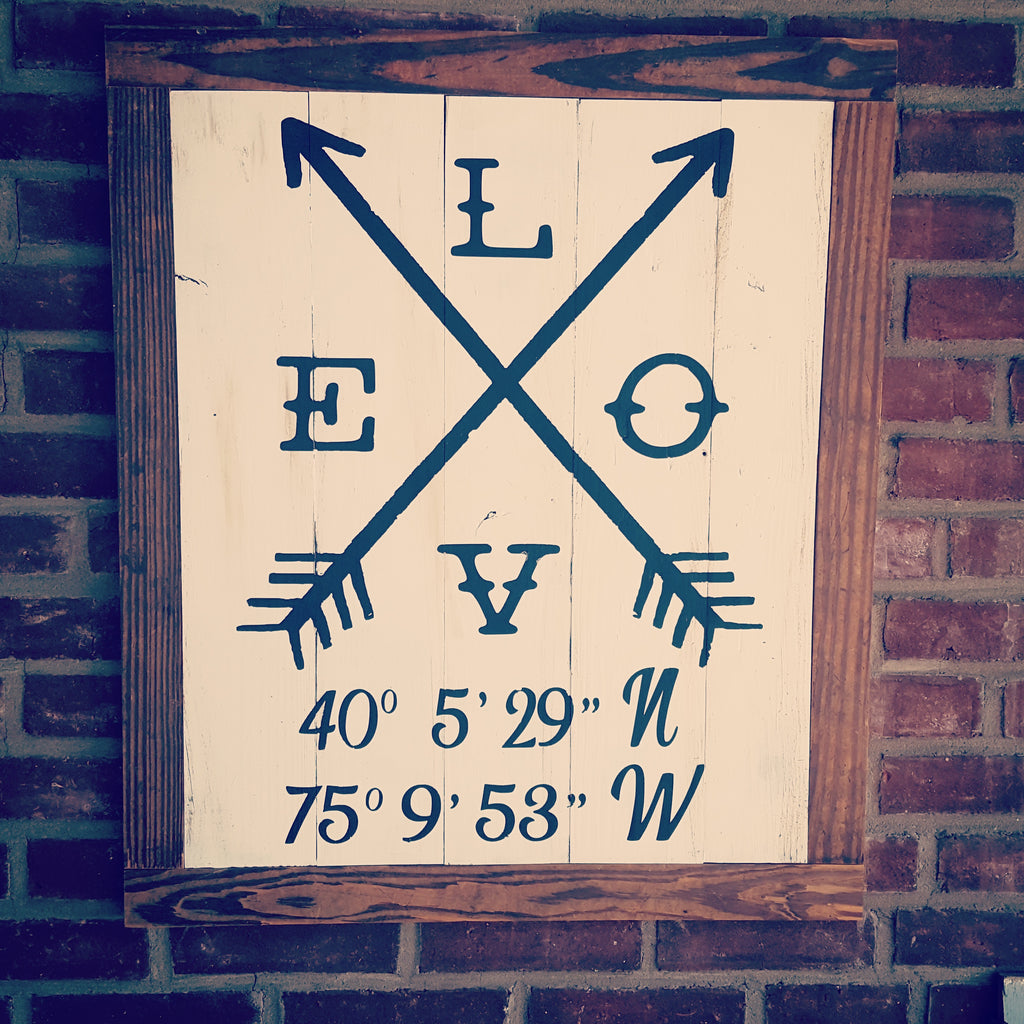 Love arrows sign with coordinates