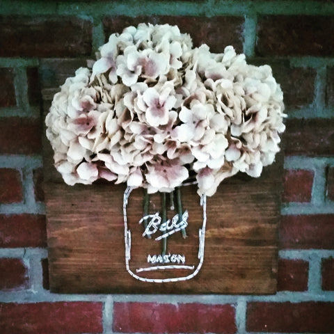 Mason Jar String Art with Hydrangeas On Reclaimed Wood