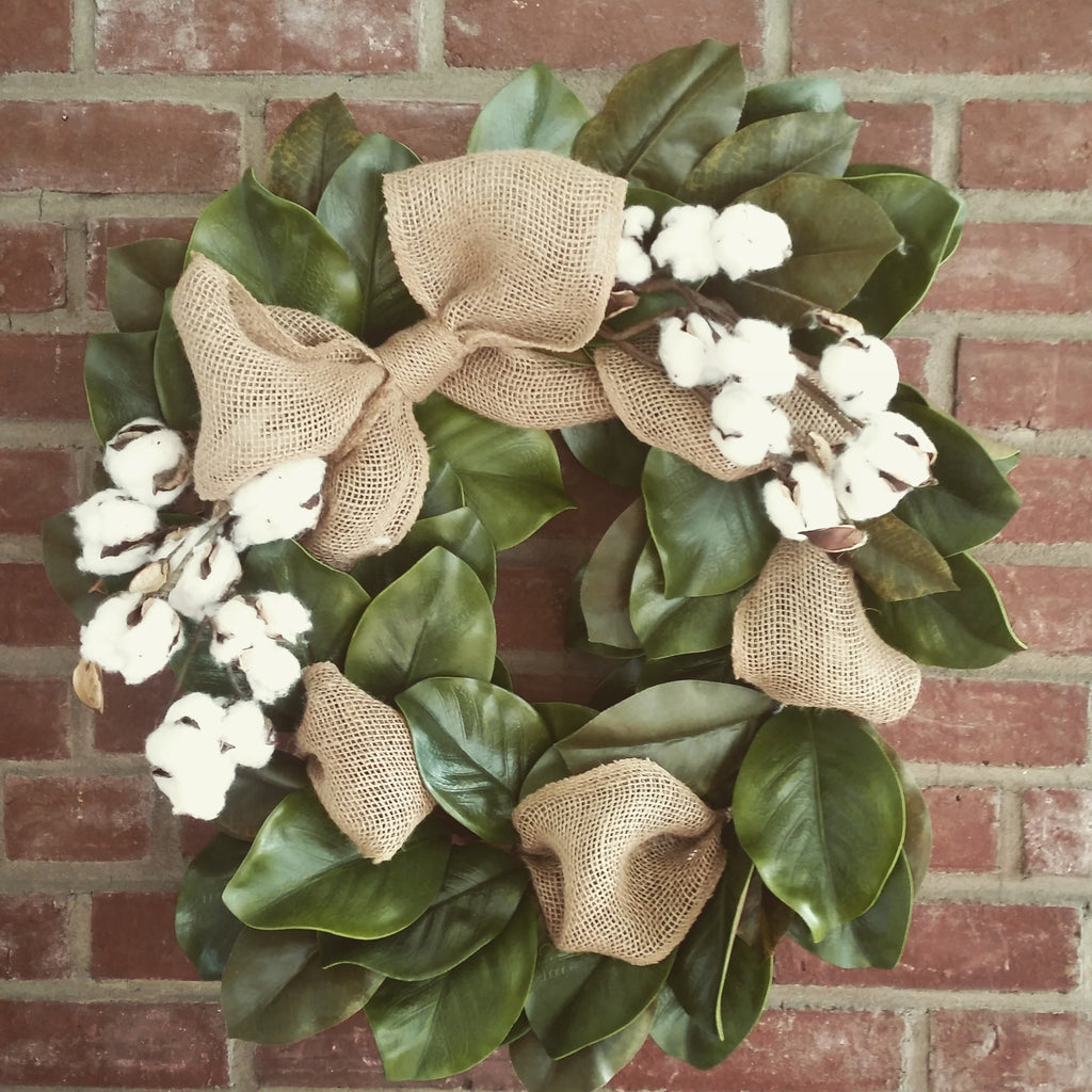 Magnolia Cotton and Burlap Wreath