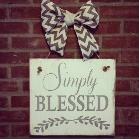Simply Blessed Hanging Sign