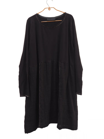 The Marlene Tunic - Black with Hand stitching