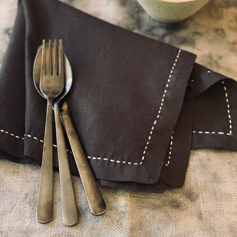 Napkins: Black - hand stitched