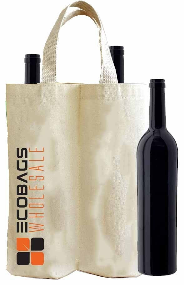 Reusable Canvas Wine Bag With Logo CA14