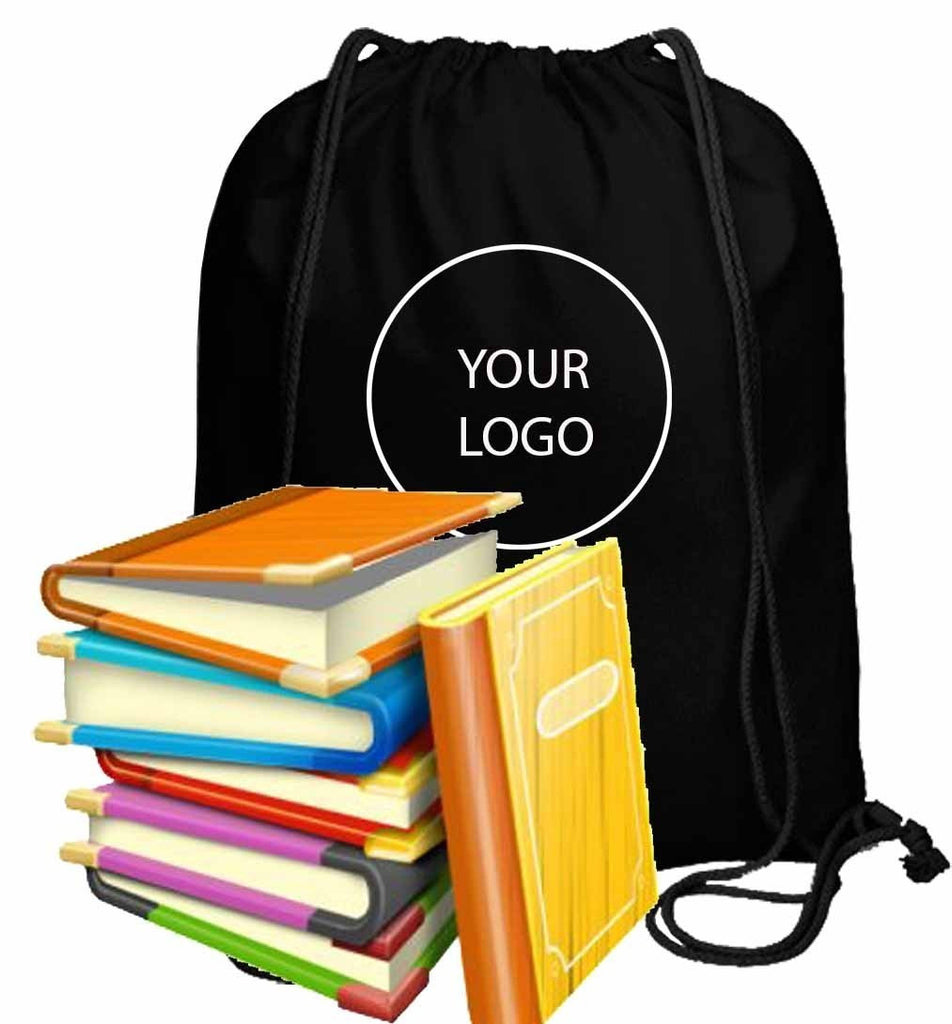 Personalized Canvas Drawstring Backpack Black CA20