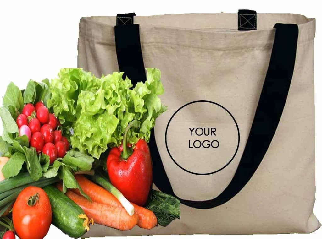 Canvas Tote With Black Handles CA25
