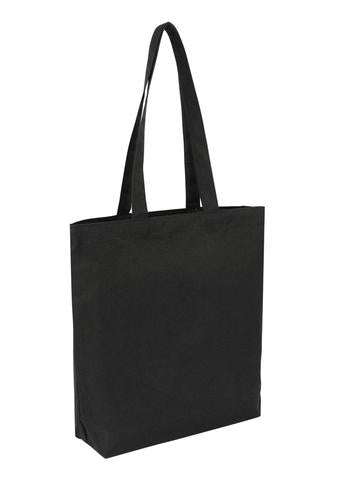 Cotton Bag -  Tote Black With Bottom Only Plain Bag