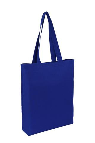 Wholesale Plain Royal Blue Cotton Tote Bags With Base Gusset Only