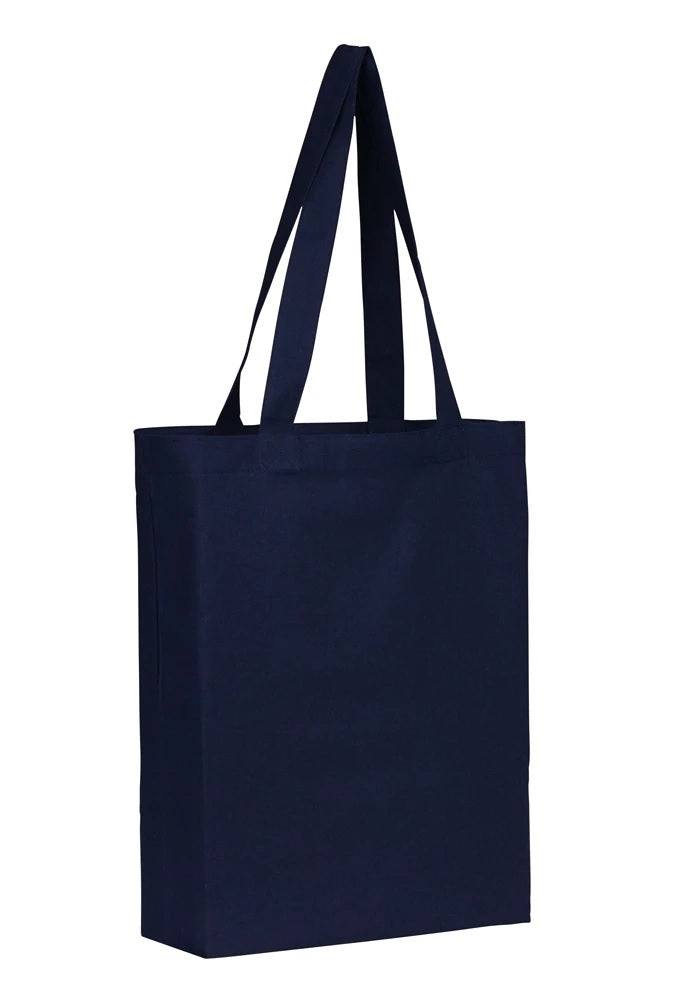 Wholesale Plain Navy Cotton Tote Bags With Base Gusset Only