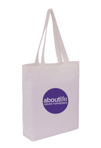 Cotton Tote With Base Gusset Only - White -