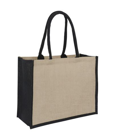 Jute Hessian Bag Laminated Landscape - Black Gusset Plain Bag