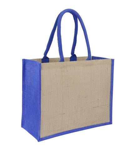 Jute Laminated Landscape - Royal Blue Gusset Plain Bag